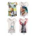 White Background Animal Print Round Neck Batwing Sleeve T-Shirt