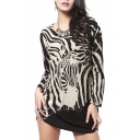 Long Sleeve Zebra Print Beaded Loose Blouse