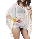 Beige Illusion Style Tassel Cuff Smock Cover Up