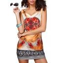 V-Neck Sleeveless Stripe Geo-Tribal Feather Print Slim Dress