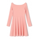 Pink Fitted Gathered Waist Long Sleeve Ruffle Hem Dress