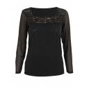 Pure Black Mesh Crochet Square Neck Long Sleeve Top