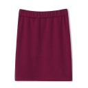 Plain Warm Elastic Waist Mini Pencil Skirt
