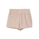 Khaki Elastic Waist Basic Denim Cotton Shorts