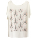 Rose&Eiffel Tower Print White Tee