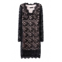 Lace Cutwork V-Neck Long Sleeve Gorgeous Style Slim Dress