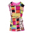 Cap Sleeve Colorful Checker Block Round Neck Drawstring Waist Dress