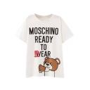 White Letter Bear Print Short Sleeve T-Shirt