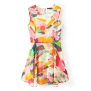Colorful Print Sleeveless Round Neck Pleated Dress