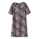 Paisley Print Short Sleeve Shift Dress
