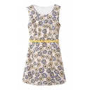 Floral Sleeveless Round Neck Belted Dress