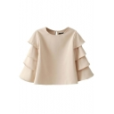 Beige Long Ruffle Sleeve Blouse