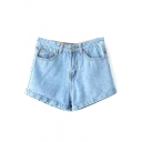 Blue High Waist Light Wash Denim Shorts
