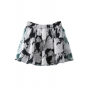 Vintage Flower Double Layer Illusion Style Mini Skirt