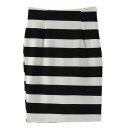 Stripe Print Split Hem Pencil Midi Skirt