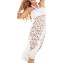 White Halter Lace Cutout Midi Dress