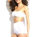 White Sheer Net Insert High Waist Bikini Set