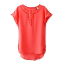 Red Short Sleeve Cutout Detail High Low Hem Chiffon Blouse