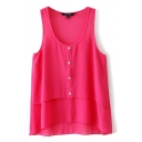Fuchsia Round Neck Single-Breast Sleeveless Chiffon Blouse