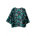 Black Long Sleeve Leaf Print Open Front Chiffon Blouse