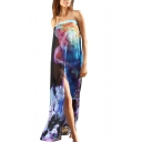 Blue Big Floral Print Sheer Maxi Sarong