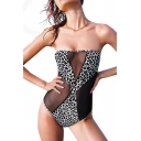 Black Sheer Net Insert Leopard Print Bandeau One Piece Swimwear