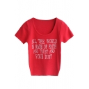 Red Short Sleeve Letters Slim Knitting Sweater