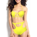Yellow Halter Cutout High Waist Bikini Set