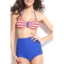 Stripe Print Halter Buttons High Waist Bikini Set