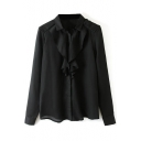 Black Ruffle Trim Long Sleeve Chiffon Blouse