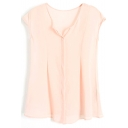 Pink Round Neck Sleeveless Chiffon Top