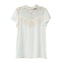 White Lace Inserted Short Sleeve Top