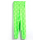 Green Background White Polka Dot Leggings