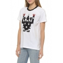 White Short Sleeve Robot Print T-Shirt