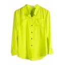 Yellow Double Pockets Front Chiffon Shirt