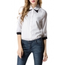 1/2 Sleeve White Point Collar Chiffon Shirt with Black Trim