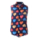 Heart Illusion Chiffon Sleeveless Shirt