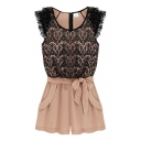 Nude Lace Insert Gathered Waist Bows Rompers