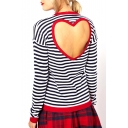 Stripe Print Long Sleeve Heart Back Cutout T-Shirt