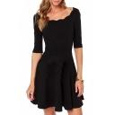 Black Scalloped Neck Half Sleeve Dress