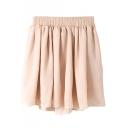 Pearl Pink Plain Elastic Waist Chiffon Skirt