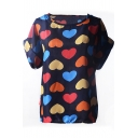 Short Sleeve Heart Print Chiffon T-Shirt