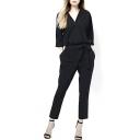 Black V-Neck 3/4 Sleeve Waist Tie Jumpsuit