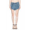 Summer High Waist Plain Cuffed Denim Shorts