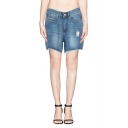 Nostalgic Loose High Waist Ripped Cuffed Denim Shorts