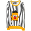 Stripe Cartoon Character Print Sweatshirt in Loose Fit
