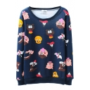 Full Of Cartoon Animal Print Round Neck Sweatshirt