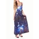 Blue Galaxy Print Maxi Sleeveless A-line Dress