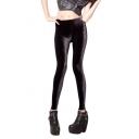 Black Velvet High Waist Skinny Leggings