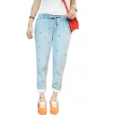 Light Wash Strawberry Embroidered Drawstring Waist Jeans